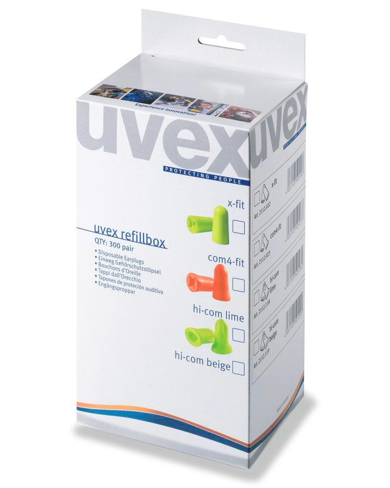 Box di ricarica uvex com4-fit, per dispenser, SNR 37, lime, conf. = 300 paia