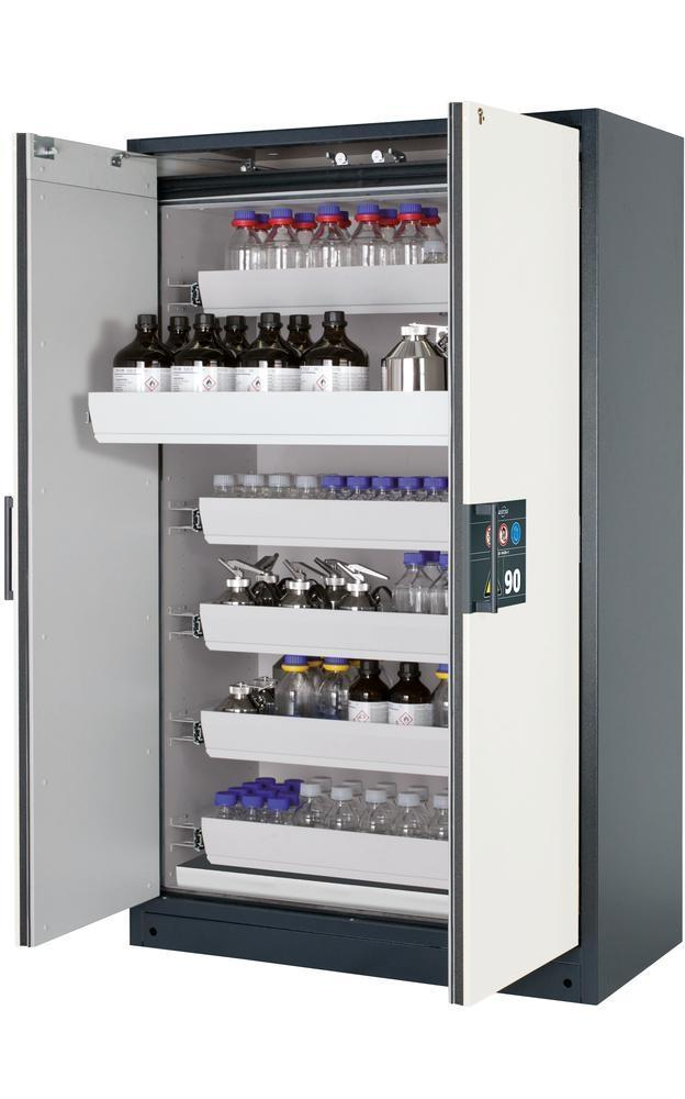 Armadio antinc. asecos Select W-126-O one touch x sost. pericolose, 6 cass. a vasca, porte bianche